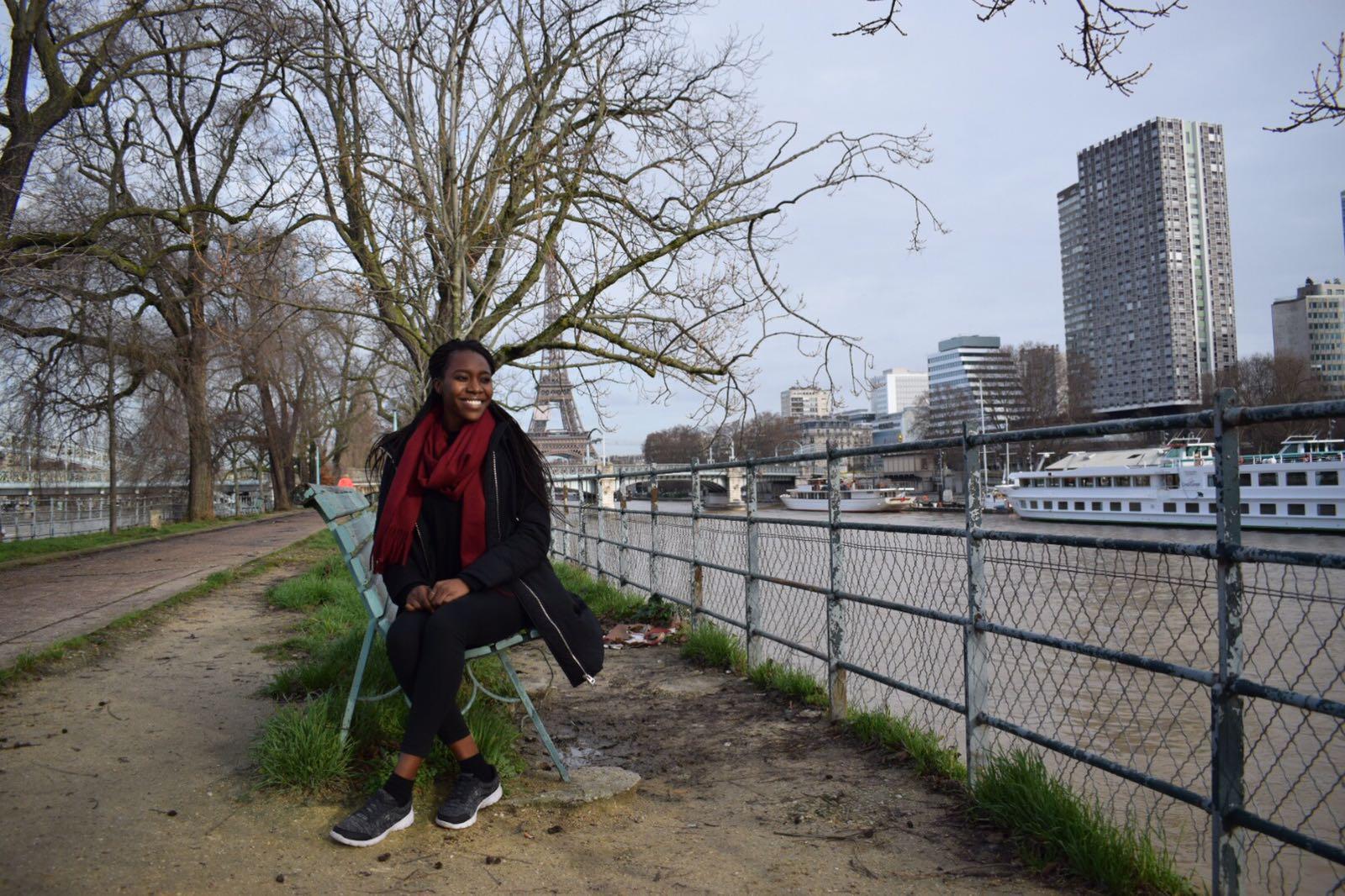 black woman travel Paris France Eiffel Tower